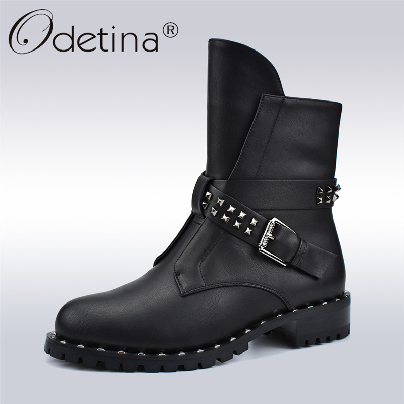 Odetina New Fashion Motorcycle Boots Women Side Zip Chunky Heels Rivet Buckle Female Ankle Boots Autumn Winter Thick Plush Shoes women martin boots 2017 autumn winter punk style shoes female genuine leather rivet retro black buckle motorcycle ankle booties