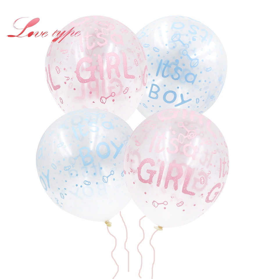 20pcs/lot Its a boy/girl Colorful Balloon Five Printing Transparent Latex Balloons Decor Baby Shower Birthday Party Supplies
