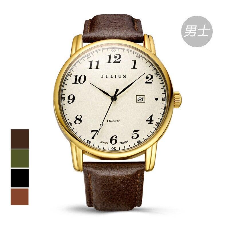 Top Julius Men s Homme Wrist Watch Big Fashion Hours Dress Bracelet Retro Leather Auto Date