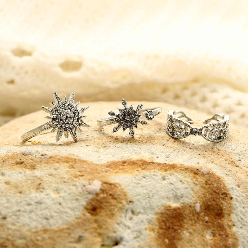 Conjunto de tres piezas de anillo con alas de Ángel con junta de estrella de seis puntas de copo de nieve de geometría a la moda