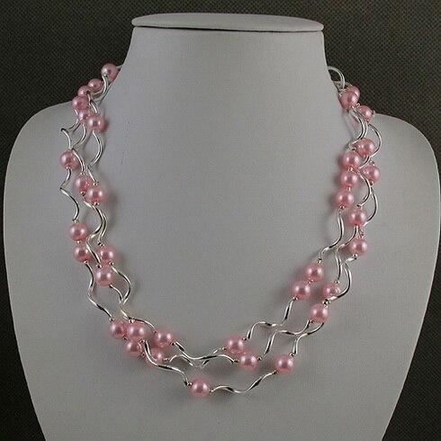 Magasin de bijoux de perles uniques, collier de perles de couleur rose argenté à 3 rangées, fermoir aimanté, cadeau de mariage de charmante fille