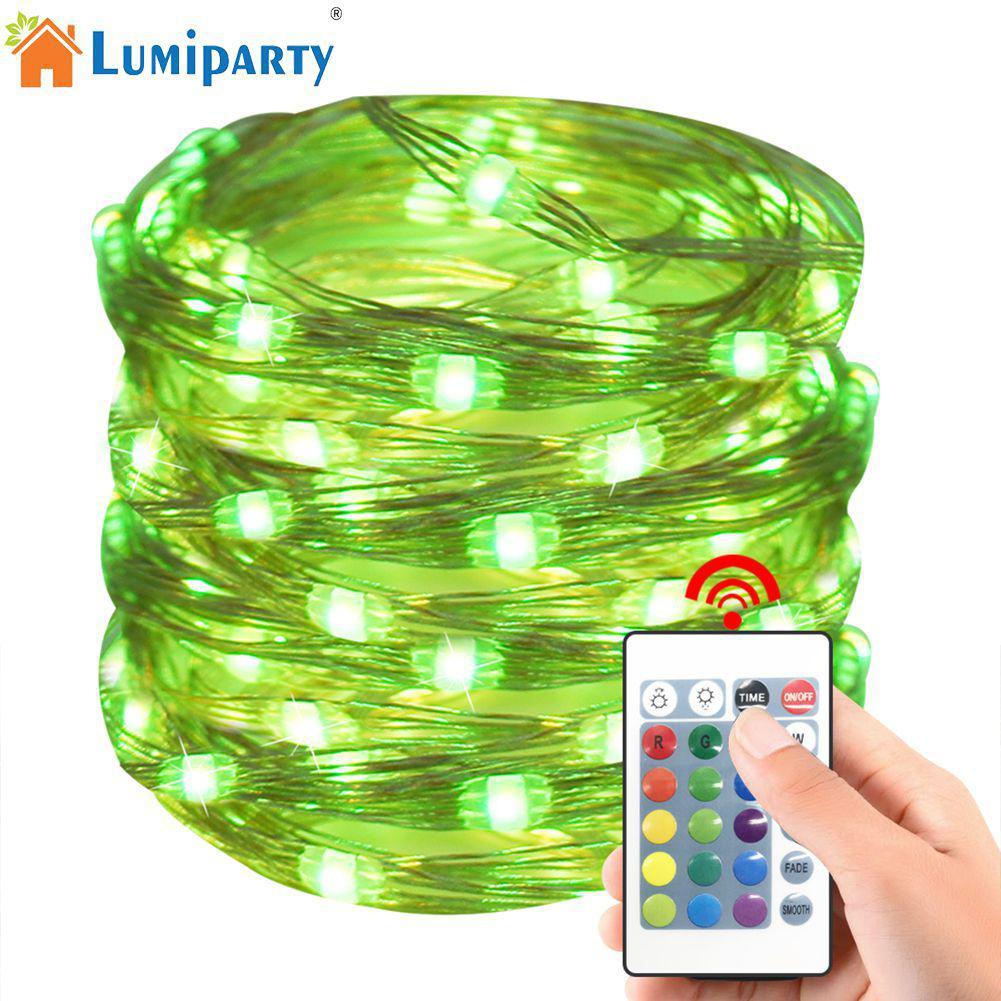LumiParty 5 mt/10 mt LED RGB 4-draht USB oder Batterie Lade 24 Tasten Fernbedienung Kupfer draht Lampe String 8 Modi String Licht