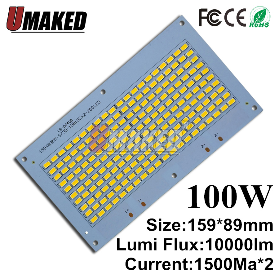 купить Full power led floodlight source 100W SMD5730 chip, 159x89mm led aluminum PCB board, 10000lm warm white/ white for outdoor light по цене 2680.46 рублей