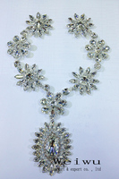 More Shiny 28cm Silver Base Crystal Clear Color Sewing Rhinestone Applique Patch