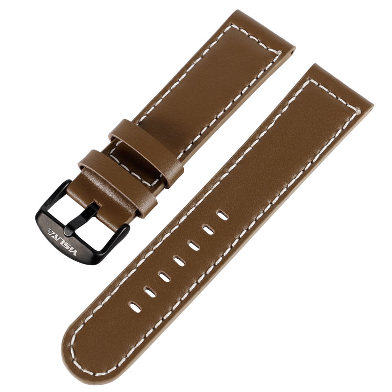 YISUYA 22mm Watchband Replacement High Quality Brown Bracelet Soft Smooth Genuine Leather Strap Pin Buckle Trendy Casual Style survival nylon bracelet brown