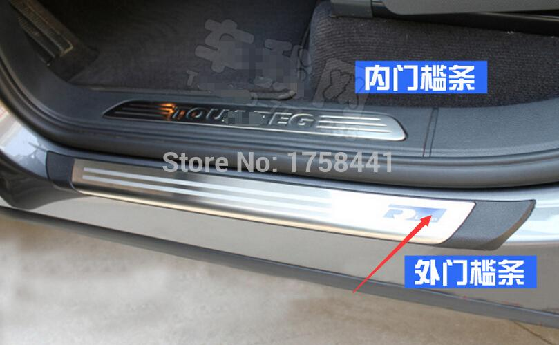 ФОТО Blue R-line! outer Side Door Sill Threshold Scuff Plate 4 pcs For Volkswagen Touareg 2011-2014
