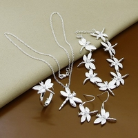 New Fashion Style Jewelry Sets Sliver Plated Necklace+Ring+Bracelet+Wonderful Pendant Earrings Very Trendy Jewelry T089