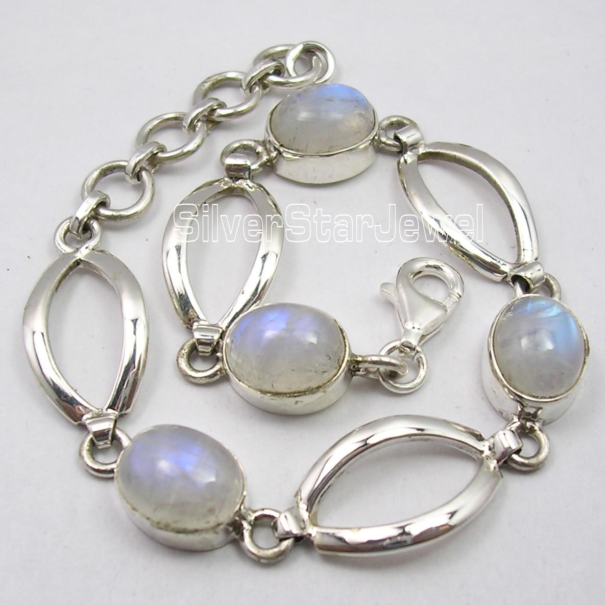 Chanti International Solid Silver Fancy RAINBOW MOONSTONE RETRO STYLE Beautiful Bracelet 7 5/8