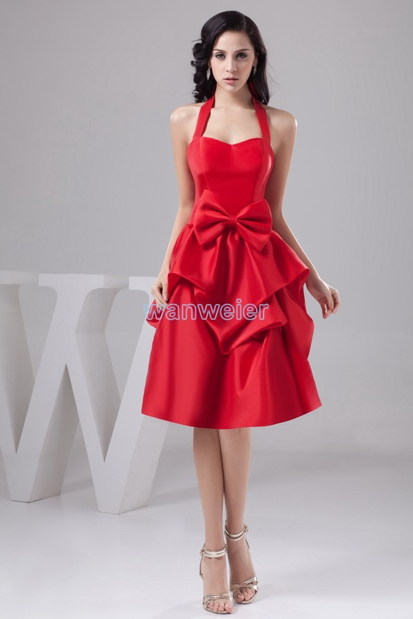 free shipping 2016 design hot sale handmade bow beach fashion bridal gown halter custom size/color short red Bridesmaid Dress