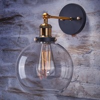 60W Industrial Wall Sconce, Loft Retro Wall Lamp Vintage Fixtures With Glass Lampshade Lamparas De Pared Arandelas