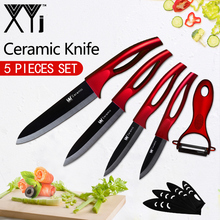 XYj Керамические ножи кухонные ножи Аксессуары 3 4 5 6 дюймов + бесплатная Овощечистка черное лезвие многоцветная ручка Высокое качество кухонный нож