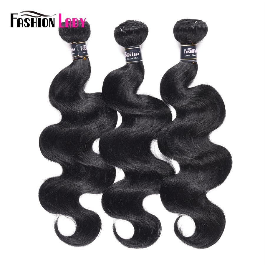 FASHION LADY Pre-Colored 3 Bundles Brazilian Hair Body Wave 1# Dark Black Human Hair Extensions 1/3/4 Bundle Per Pack Non-Remy