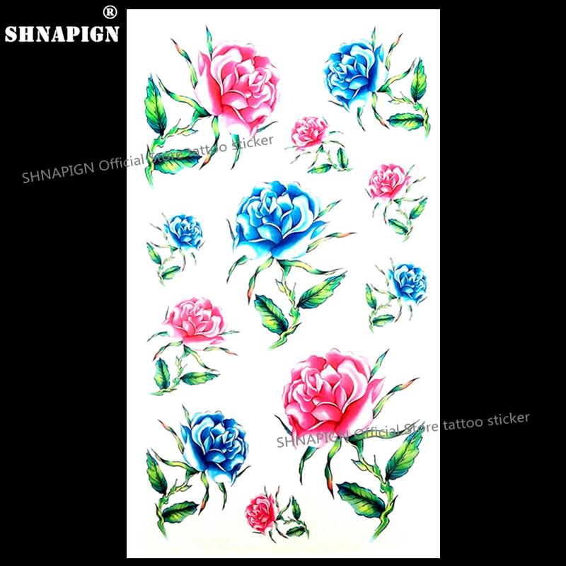 Shnapign Rosas Azules Hermosas Tatuaje Temporal Cuerpo Arte Brazo