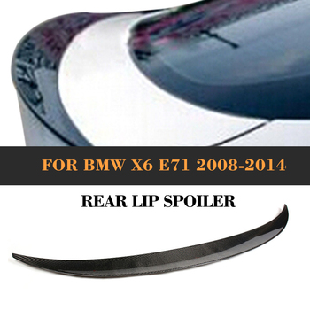 Car Rear Trunk Lip Spoiler Wing for BMW X6 E71 2008-2013 Rear Spoiler Wing Boot Lip Carbon Fiber / Black FRP image