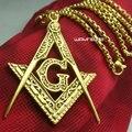 Mens 18 k gold filled Mason Masonería Masónico de acero inoxidable Colgante Del Envío 50 cm de largo collar de cadena mujeres hombres N275