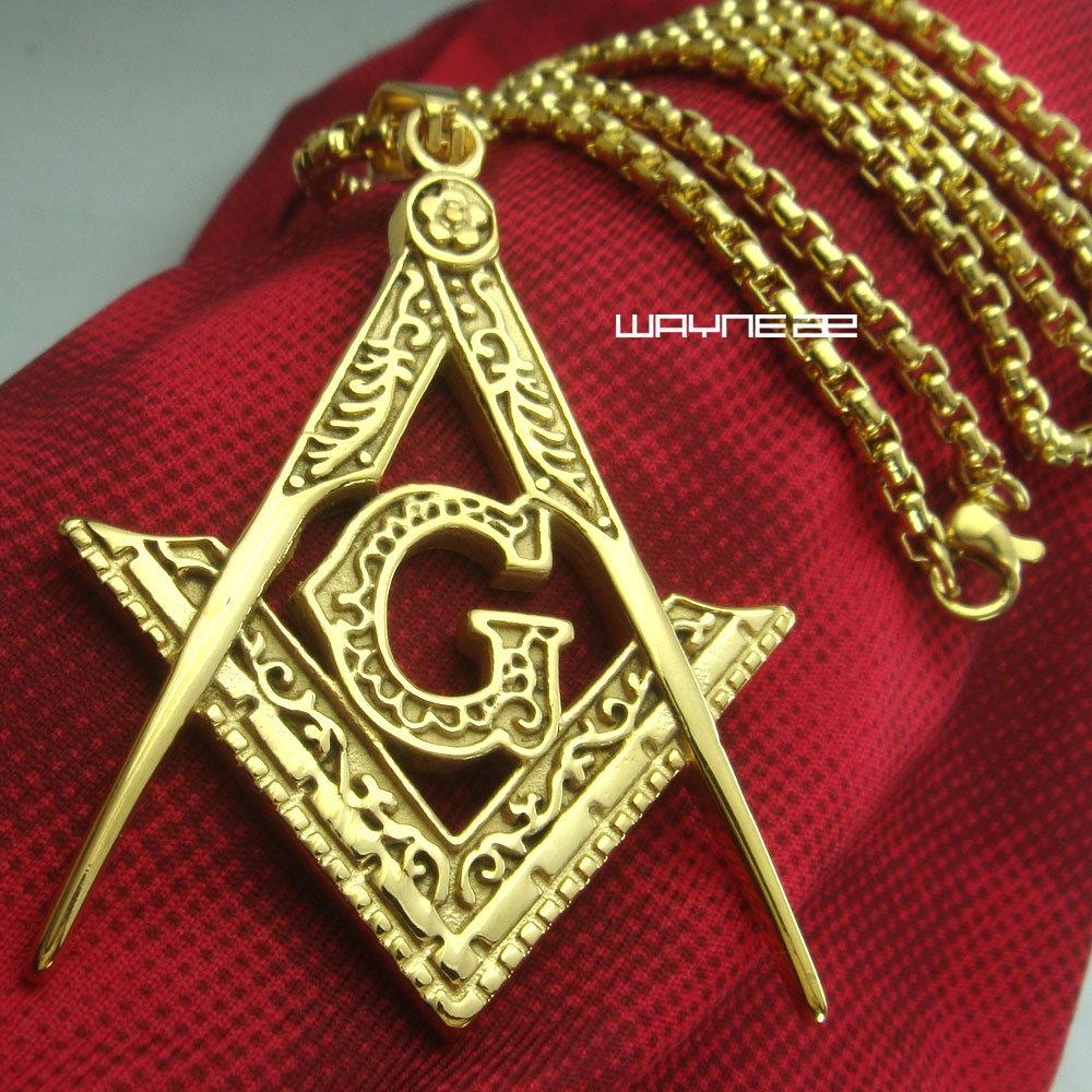 mens 18k gold filled stainless steel Freemasonry Masonic Mason Pendant Free 50cm length chain necklace women