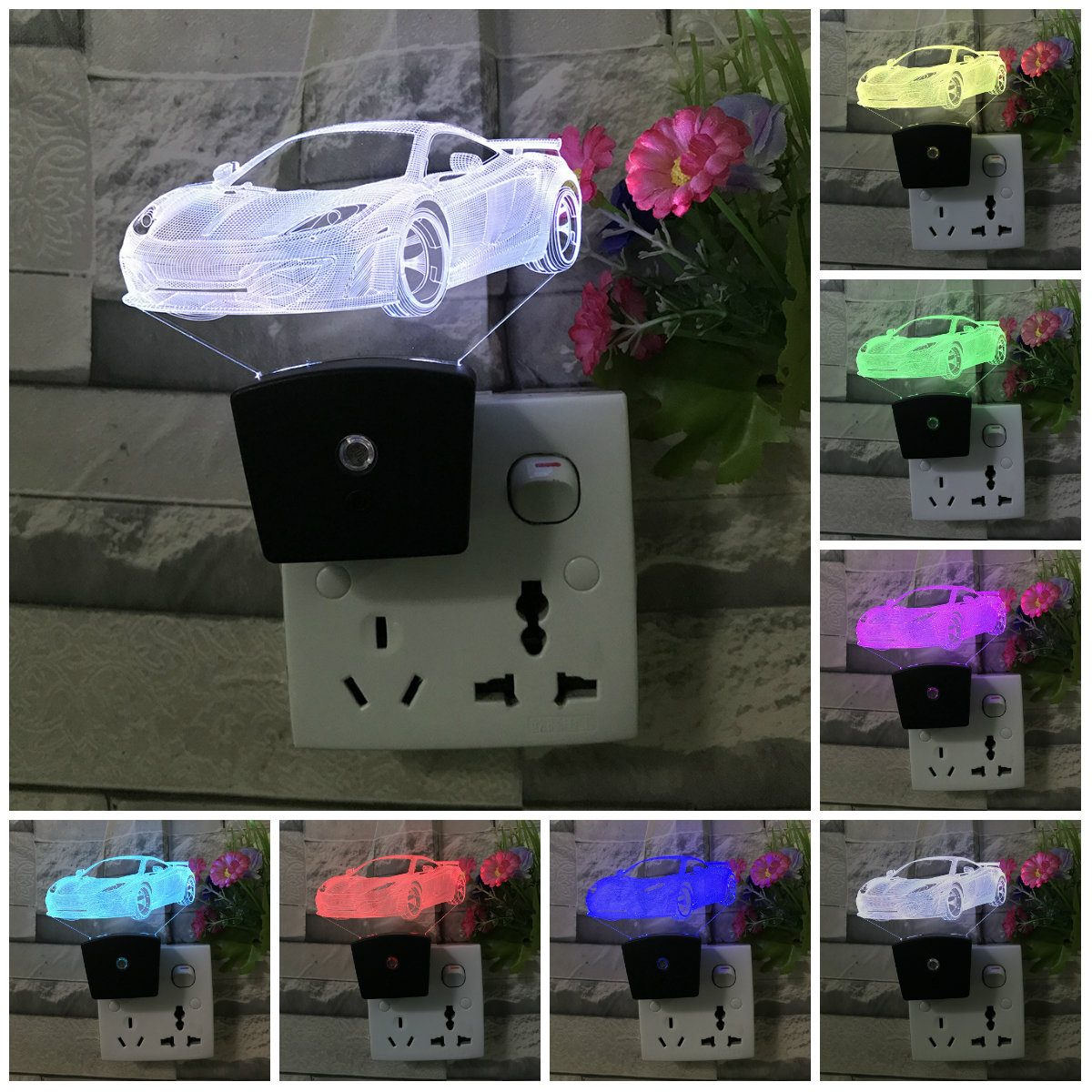 LED Night Light Lamp AC 110V 220V Light Sensor Control Auto Baby Bedroom Automate Colorful Light EU PLUG Wall Lamp IY103103-8