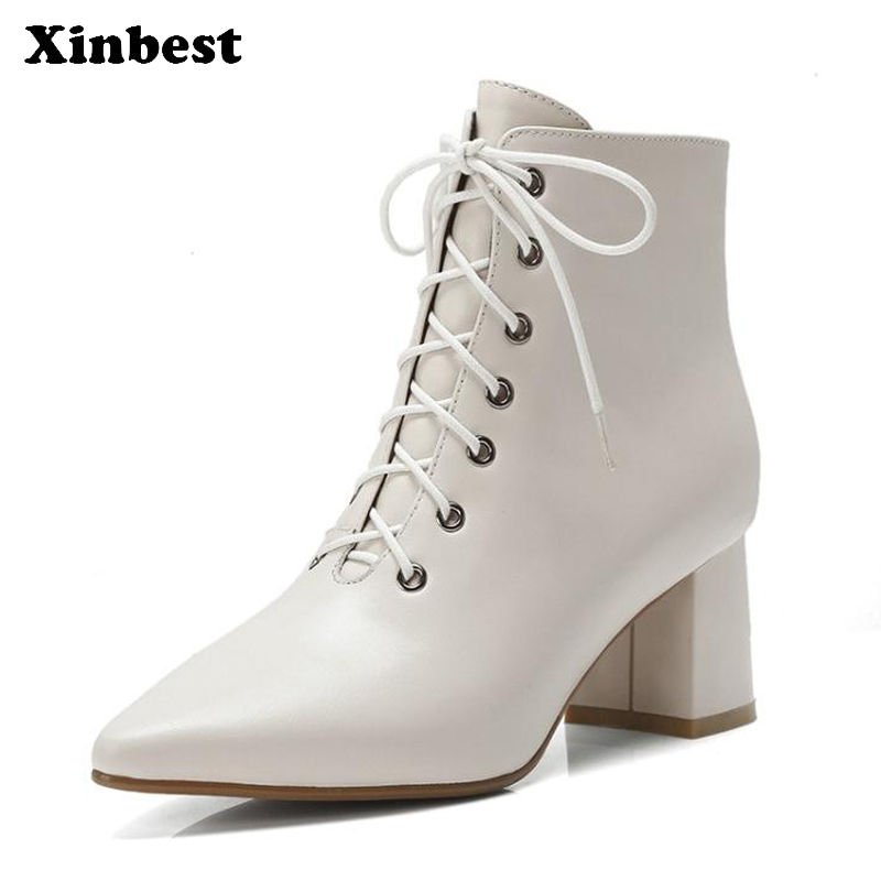 Xinbest New Women Boots Square heel Women High Heel Shoes Pointed Toe Womens Winter Boots Genuine Leather Ankle Boots For Women single sale super heroes movie series biznis kitty from set 70809 unikitty bricks model building blocks children gift toys kf447