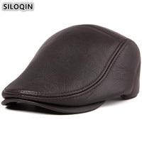 SILOQIN Adjustable Size Men's Genuine Leather Hat Autumn Winter Warm Berets Sheepskin Leather Male Caps Simple Brands Cap New