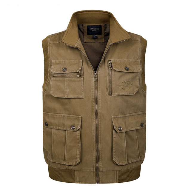 77e5a809e77 Plus Size Mens Vest Jacket Outdoor Casual Multi Pocket Vest Middle Aged  Zipper Waitcoat Multifunction Men s Vest Clothing