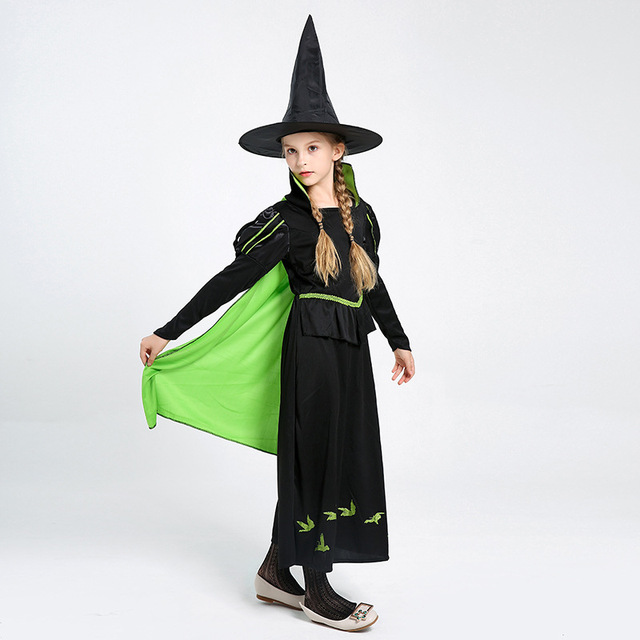 8bff7f6609a US $15.14 35% OFF|Aliexpress.com : Buy Girls Wicked Witch Costumes with  Cape Halloween Masquerade Party Evil Enchantress Cosplay Fancy Dress for  Kids ...