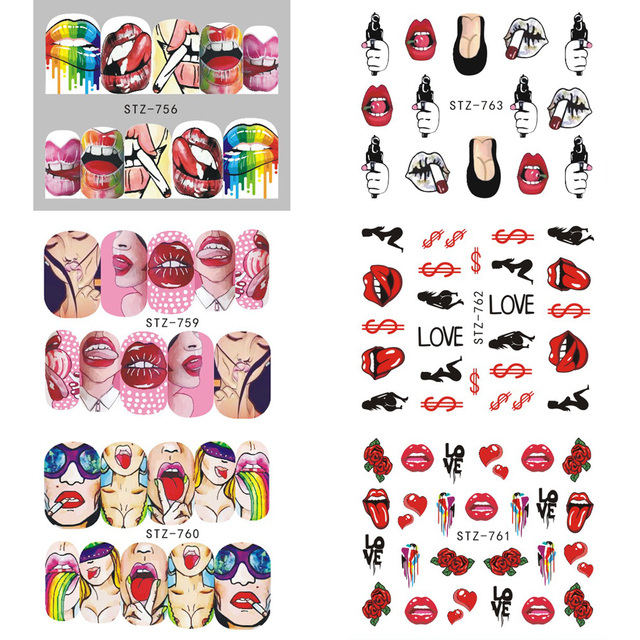 1pcs Nail Stickers Sexy Lips Cool Girl Water Decals Wraps | online brands