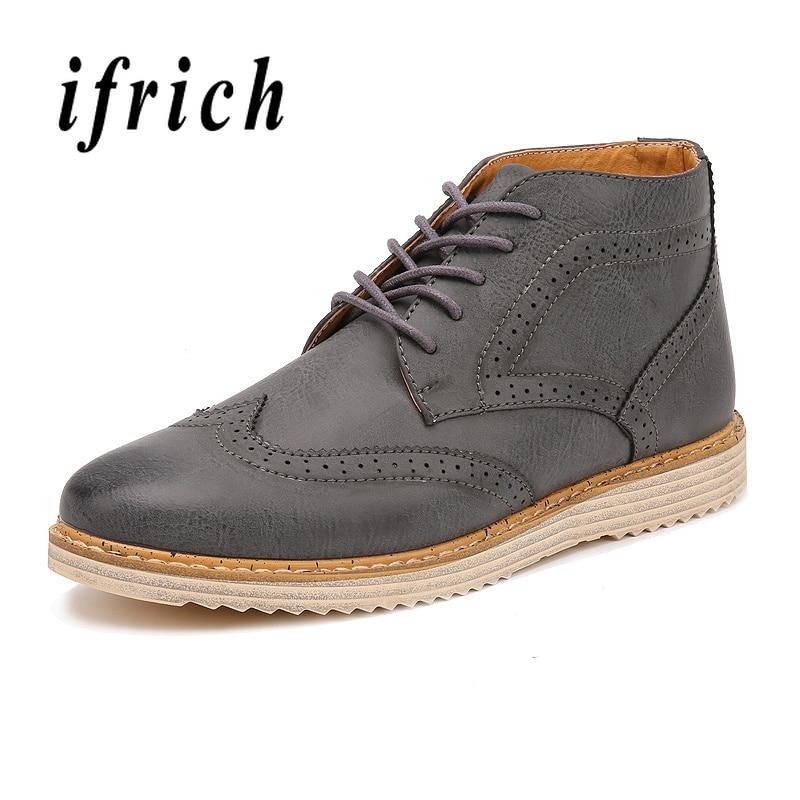 Confortable Plates Marche High Chaussure Non Black Top Chaussures Britannique Tendance Brun Style gray Mâle Noir brown Hommes slip Homme De OW7anqwR