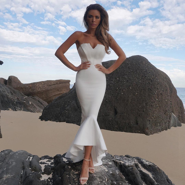 new High quality 2018 women s dress wholesale white strapless fluted hem  bandage dress party dress dropshipping 1730f18d87ce