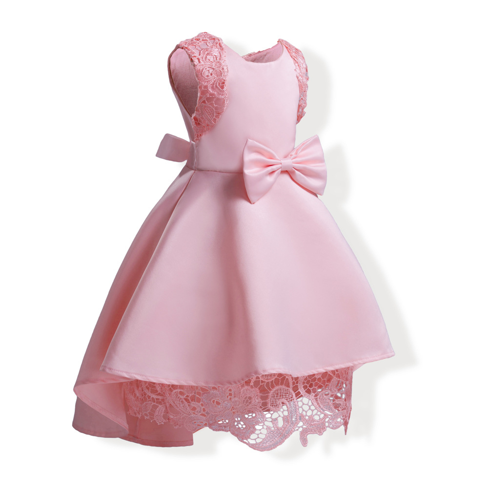 c6bbf6ef504 bow lace ball gown little baby girl party dress sleeveless blue ...