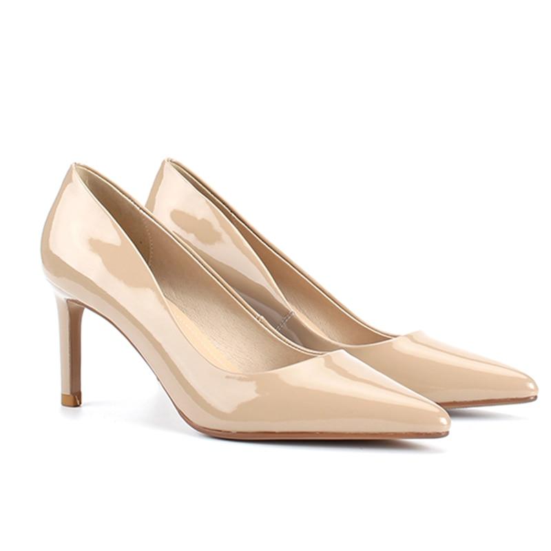 2019 Mujer Cuero Pie Mujeres Alta De Bombas La Zapatos Primavera Oficina Puntiagudo Superficial Del Apricot Calzado Tacones Las Wetkiss Dedo SAOwgTWqW