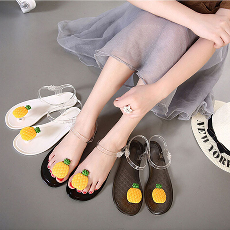 e04ef9607 Woman Sandals Pineapple Flip Flops Beach Jelly Sandal Water Shoes Summer  Flat Fruit Flower Transparent Slipper
