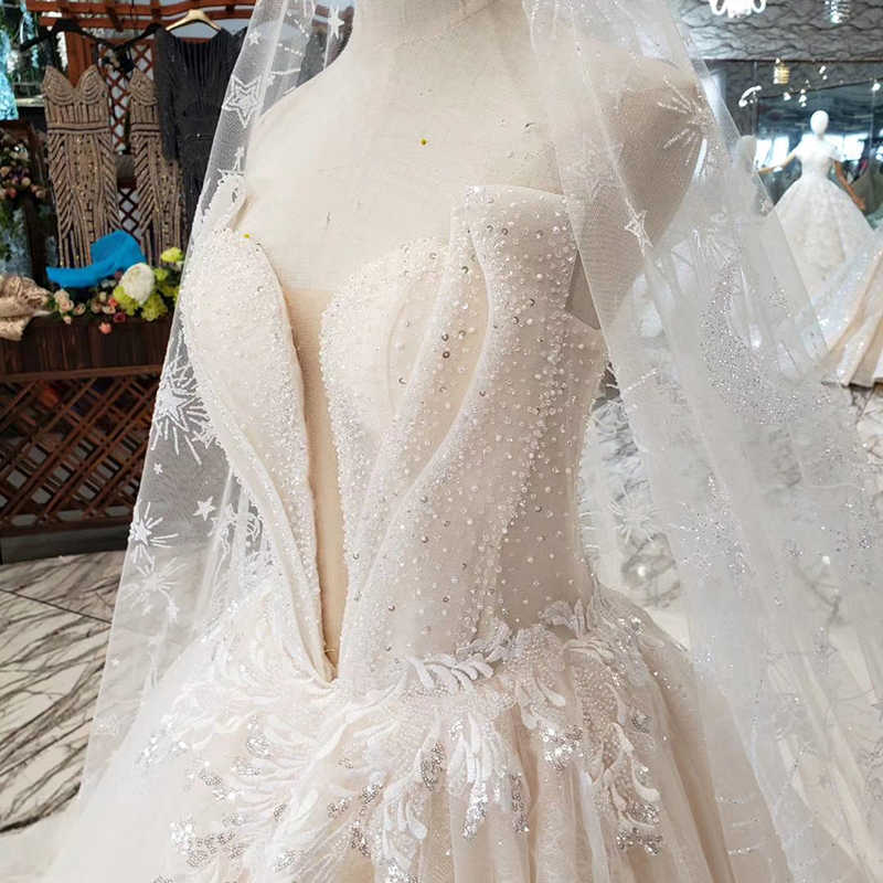 HTL273 מיוחד סטרפלס חתונת שמלה עם רעלה ללא משענת בעבודת יד חוף כלה שמלת חתונת שמלת אונליין בוהמי שמלה