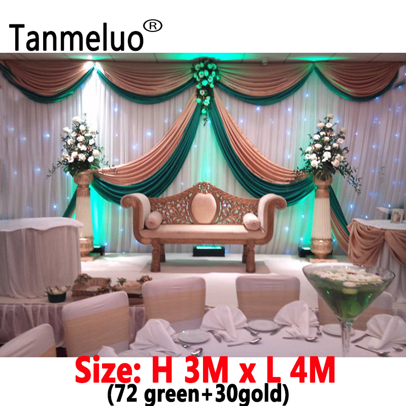 3x4M ice silk wedding backdrop drape with swags gold and green wedding backdrops curtain for event party decoration 3x4M ice silk wedding backdrop drape with swags gold and green wedding backdrops curtain for event party decoration