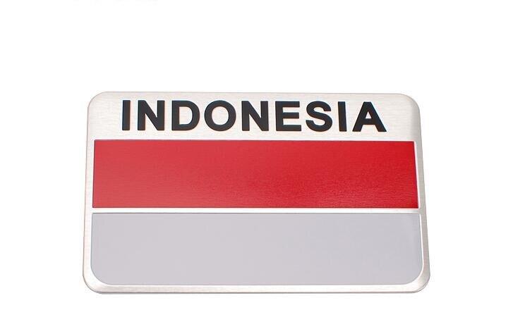 20pcs Aluminum INDONESIA Flag Car Stickers Emblems Decorations INDONESIA Flags Logo Car Exterior Decals Accessory
