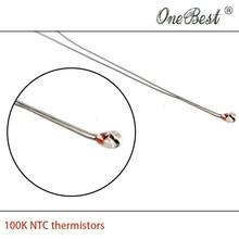 10Pcs lot 3D printer thermistor NTC 100K single ended glass sealed 100K Ohm precision of 1