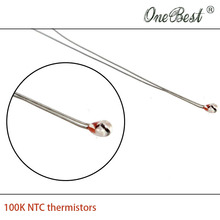 10Pcs/lot 3D printer thermistor NTC 100K single-ended glass sealed 100K Ohm precision of 1 B=3950 1.8mm Wholesale free shipping