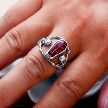2019 Punk Male Female Skull Finger Ring Vintage Retro Red Stone Ring Stainles Steel Rings For Men And Women(China)