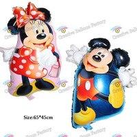 65 45cm 50pcs Lot Mickey Minnie Balloon Birthday Party Supplies Foil Balloons Globos Kids Toys Helium