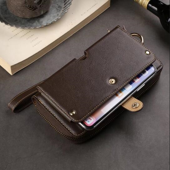 CKHB Fashion Cowhide genuine leather Lanyard Wallet Leather Case For iPhone 6s 8 7 Plus Xs