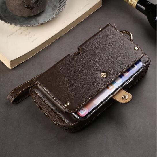 CKHB moda piel de vaca cuero genuino cordón cartera Funda de cuero para iPhone 6 s 8 7 Plus Xs Max bolsa de teléfono bolso caso de la cubierta
