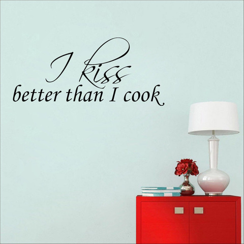 YOJA  76CM*36.4CM I Kiss Better Than I Cook Art Home Decor PVC Wall Stickers W1-733 Karachi