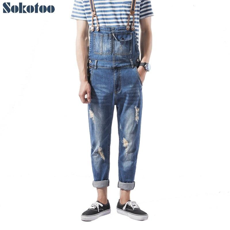 Sokotoo Men's slim pocket holes ripped denim bib overalls Casual torn jeans Ankle length suspenders jumpsuits sokotoo men s slim patch pocket denim bib overalls casual suspenders jumpsuits jeans