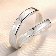 Simple Style Silver Heart Opening Ring 925 Electrocardiogram Wedding Couple For Women Valentines Day Present