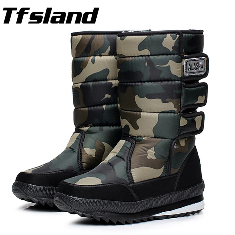 New Men Winter Warm Thick Wool Waterproof Walking Shoes Male Military Desert Knee-high Snow Boots Outdoor Hunting Botas Sneakers