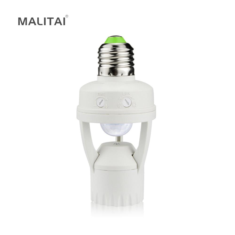 Haute Sensibilité PIR Motion Sensor E27 LED Base de la lampe Titulaire 110 V-220 V Avec Contrôle de la lumière Commutateur Infrarouge Induction Ampoule Socket