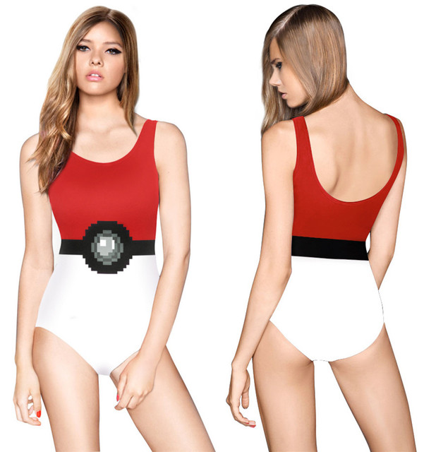 815ab7fdc3aae Red Poke Ball Swimwear One Piece Brazilian Triangle Bikini Pokemon Go Monokini  Swimsuit One-pieces Swimming Suit Bathing Suits