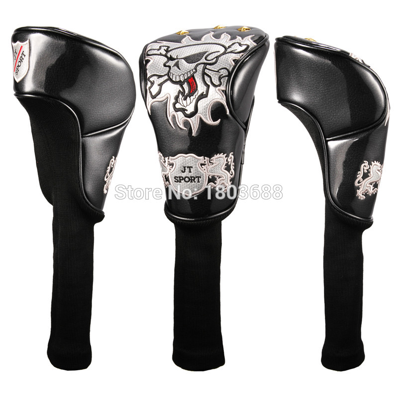 New 4 Colors Skull Golf Driver Head Cover 460cc Golf Club Cover For Driver Free Shipping