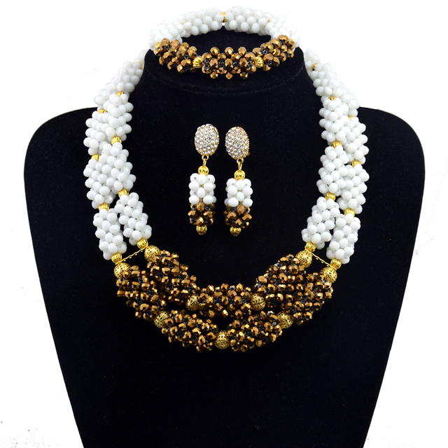 Hesiod Indian Wedding Jewelry Sets Gold Color Full Crystal: Fashion African Beads Jewelry Set White Gold Color