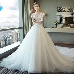 Image 2 - Fansmile Vestido largo De novia con tren, vestidos De encaje De novia, manga, hecho a medida, De talla grande, tul, FSM 540T De boda, 2020