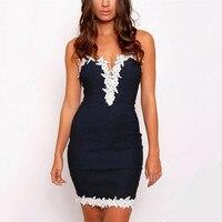 Fashion Design S M L XL Womens Bodycon Party Dress V Neck Floral Lace Vestidos Ladies